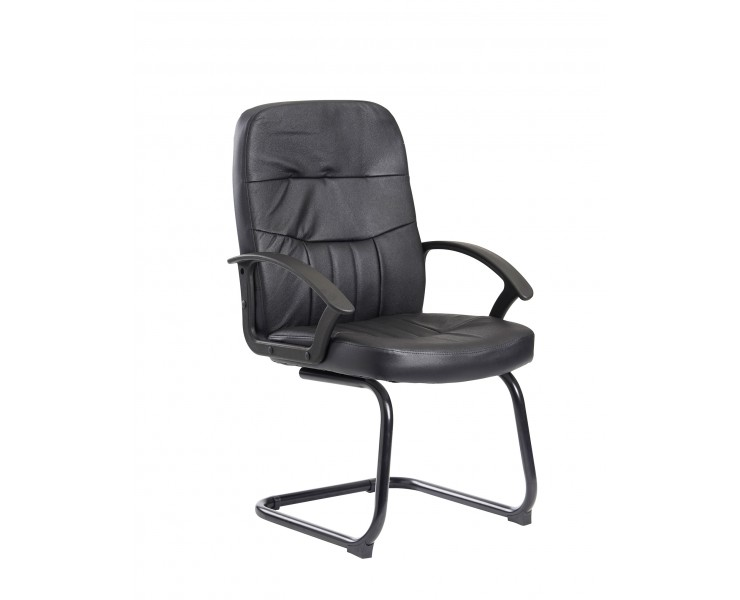 Cavalier Black Leather Faced Visitor Chair