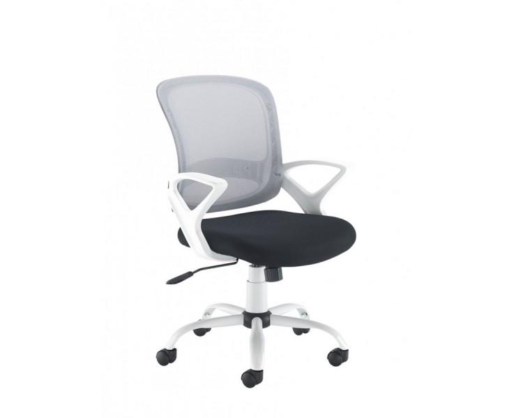 Tyler Black Mesh Operator Chair with White Frame